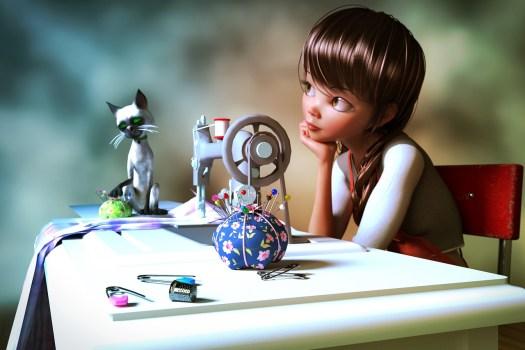 fille rêveuse devant machine à coudre