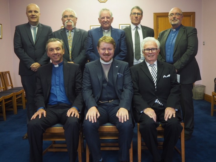 Back Row: Rev Albin Rankin (Clerk of Presbytery), Andy McCann, Rev Danny Rankin (Moderator of Presbytery), Colin McRoberts, Rev Robert Beggs (Vacancy Commission) Front Row: Rev Stephen Moore (Vacancy Convenor), Rev Edward McKenzie, Dennison Mahood (Clerk of Session)