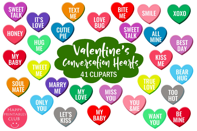 Valentine S Conversation Hearts Cliparts Crella