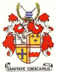The Coat of Arms of the Croydon Borough Council, displaying the words Sanitae Crescamus