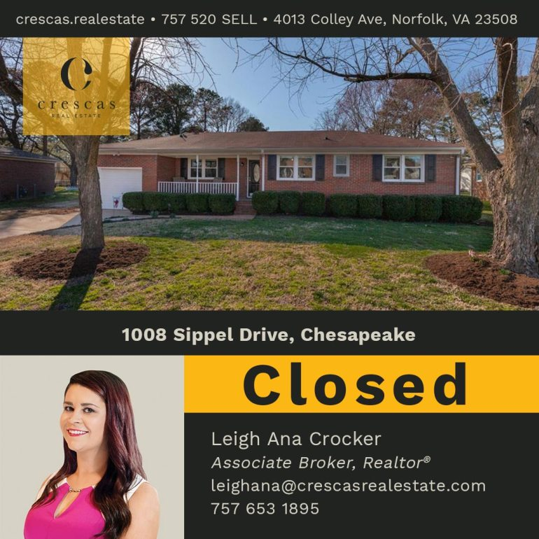 1008 Sippel Drive Chesapeake - Closed