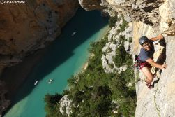 grande voie Verdon, initiation escalade