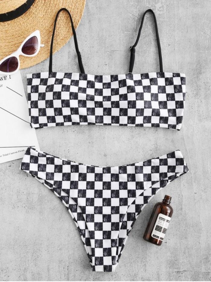 Padded BikiniZAFUL Checkered Cami Bikini Set
