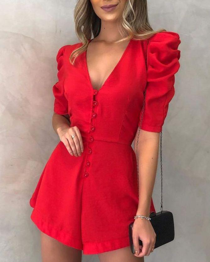 look de natal macaquinho vermelho elegante