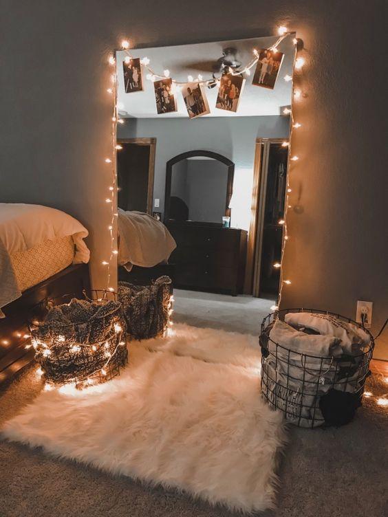 decoração com espelho no quarto