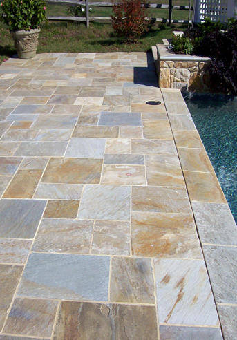 Rectangular Flagstone Pool Deck Northern VA