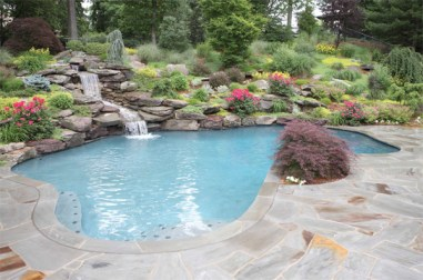 Waterfall Pool with Stone Patio