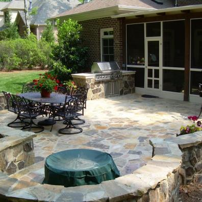Natural Stone Backyard Patio with Fire Pit in Northern VA, Maryland, and DC
