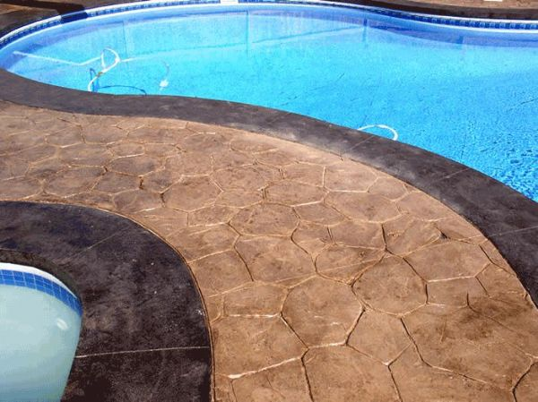 Stamped Concrete Pool Walkway