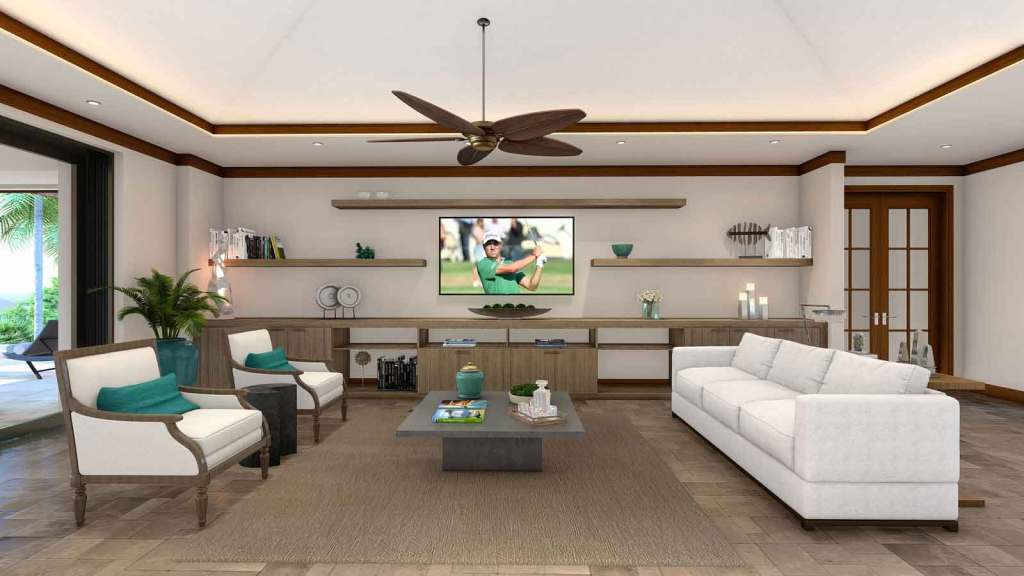Living room of a Crescent Homes Maui showing the entertainment center