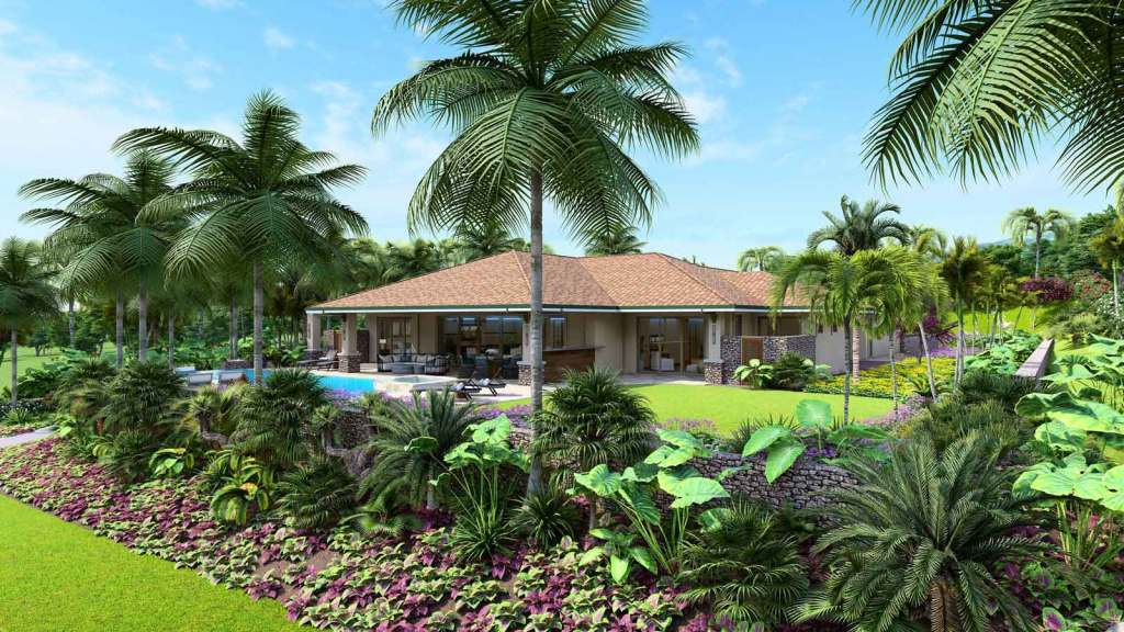 Exterior and landscaped grounds of a custom home by Crescent Homes Maui