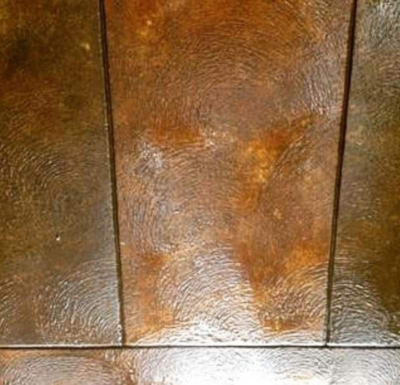 Hand stamped concrete designed to look like wood flooring.