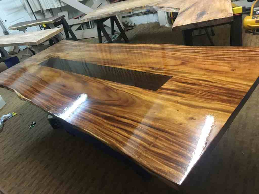 Inlaid wood table finished