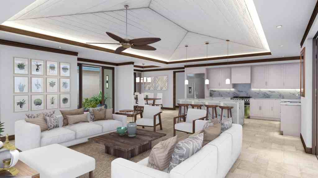 planned kitchen and great room for 27 Kaulele, Maui