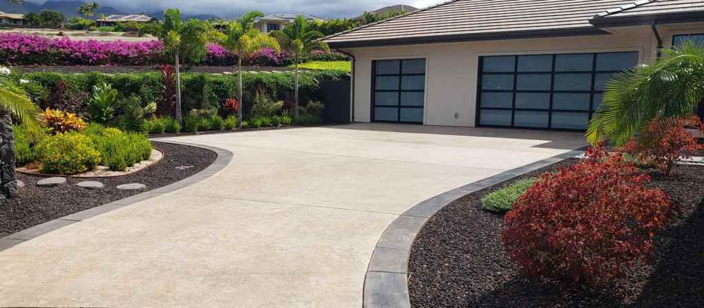Stamped concrete drive and parking