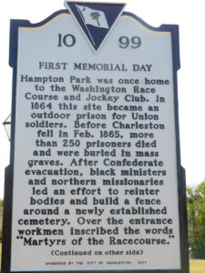 Memorial Day sign, Hampton Park at Charleston, SC