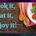 "Dark wood background with a green salad on a white plate with 2 wooden spoons with the text ""Cook, it, Eat It, Enjoy it!"" and ""Food Choice Considerations"""