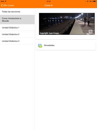 Dentro de un curso de ejemplo con la app de IOS