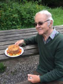 fisherman eating pie