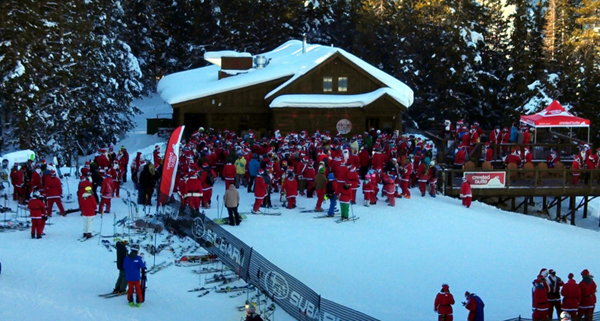 Santas ski at Crested Butte, Guiness record Santas, santa suit