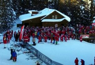 Santas ski at Crested Butte, Guiness record Santas, santa suit