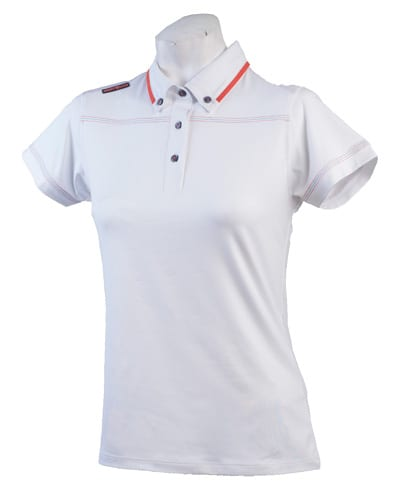 Ladies Polo 80515 White / Red Orange