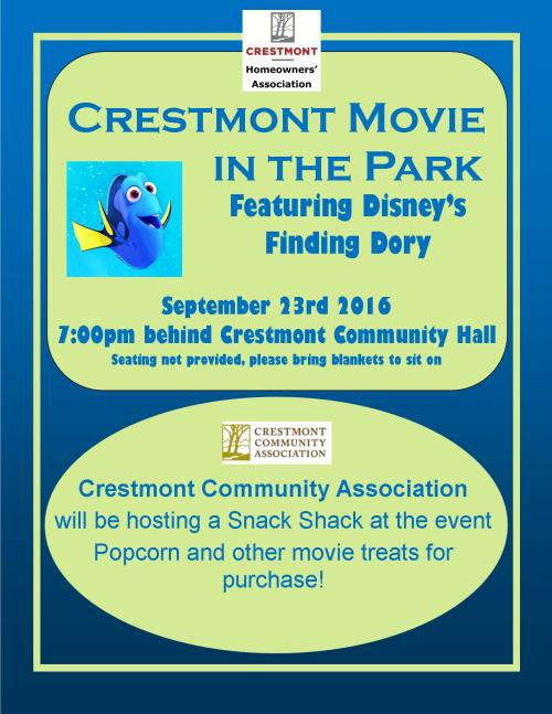 Movie in the park September 23rd starting at 7pm behind the Crestmont Hall