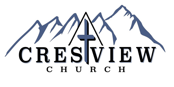 Crestview Church logo with cross and mountains.