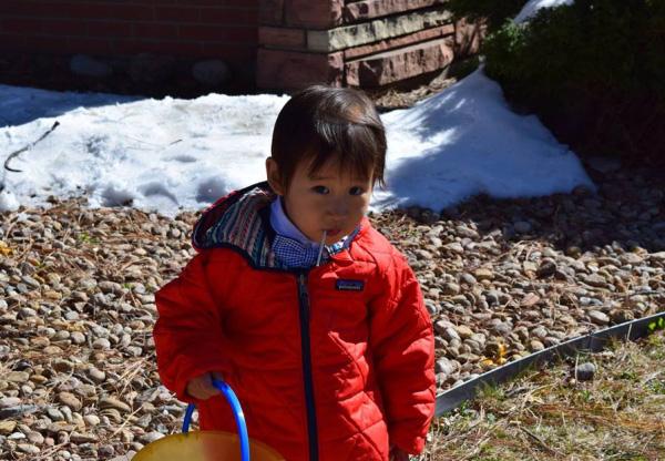 Photo of Korean child on Easter Sunday.