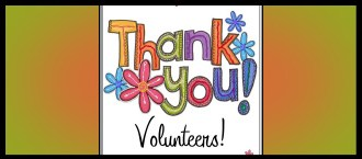 """Banner art for """"Thank You Volunteers!""""."""