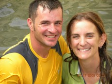 Close up photo of Pastor Mark and wife Deone in the spring waters near Jerusalem.