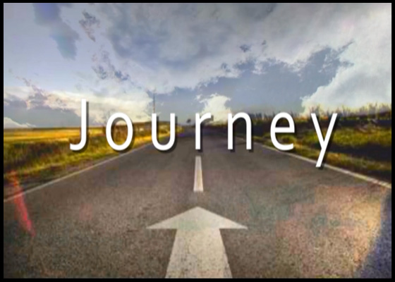 "Image of a highway with moving clouds with the caption, ""Journey"" for the study of the Book of Matthew."