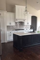 Traditional White Painted Cabinets with Accent Island