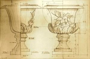 Disegno progetto vaso antico