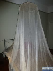 Mosquito net over the bed.