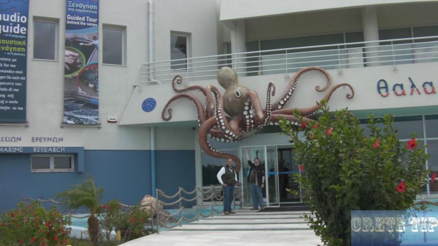In front of the Crete Aquarium.