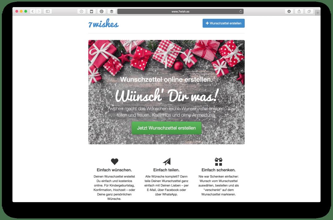 Wunschzettel online erstellen mit 7wish.es
