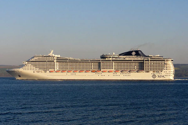 MSC cruise ship at sea