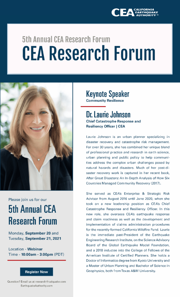 CEA Research Forum Flyer featuring keynote speaker Dr. Laurie Johnson
