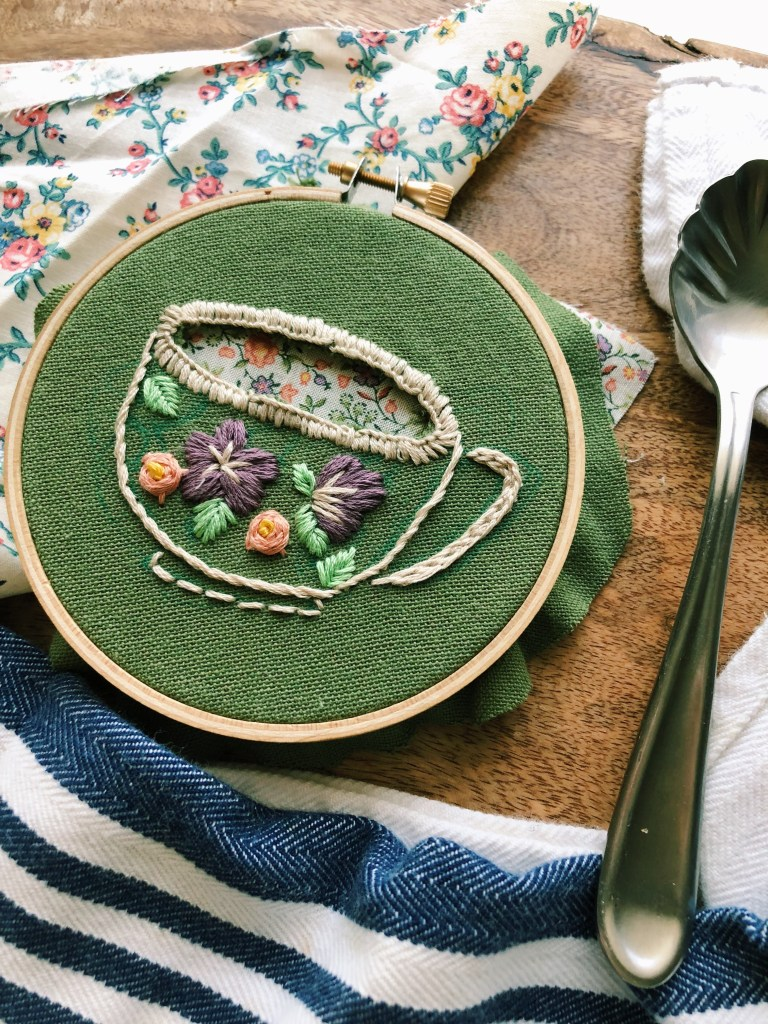 cutwork embroidery of a teacup