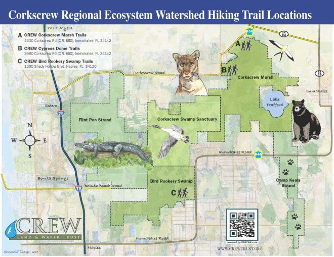 CREW Hiking Trails Location Map