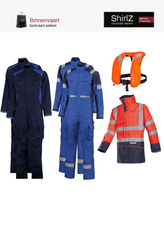 Korenblauw met rode parka pakket overall met werkparka en reddingsvest