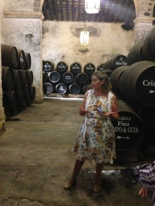 Carmen in action - sharing her love of sherry