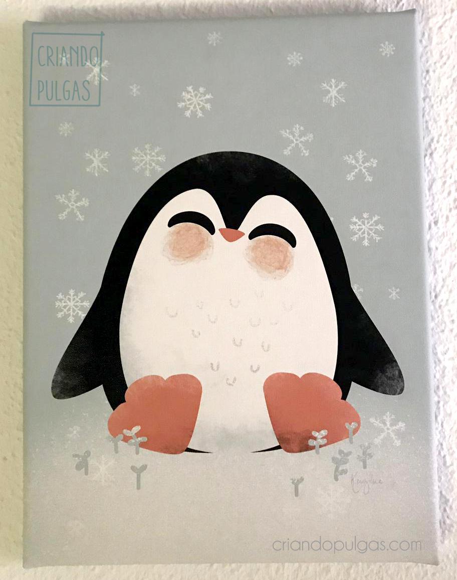 Cuadro lienzo de pingüino