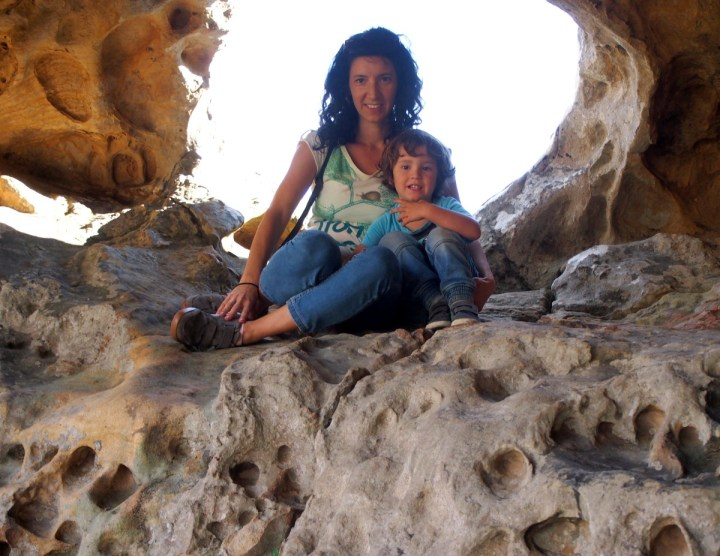 Nico y yo arriba en la montera del torero posando para la foto