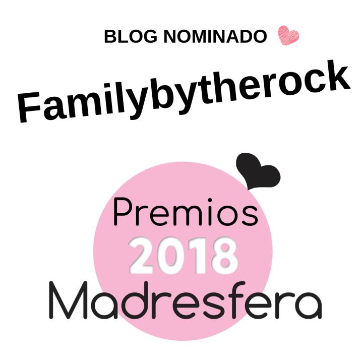 Cartel anunciando el blog nominado de los premios madresfera familybytherock