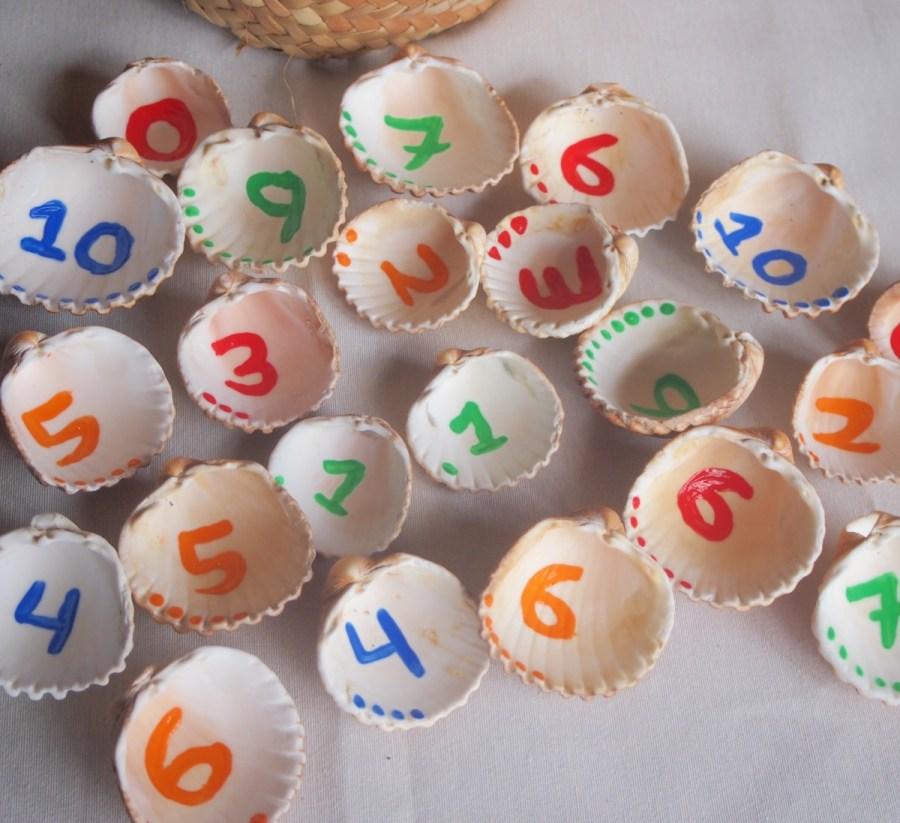 Juego memory de conchas y números. Idea de manualidades sostenibles