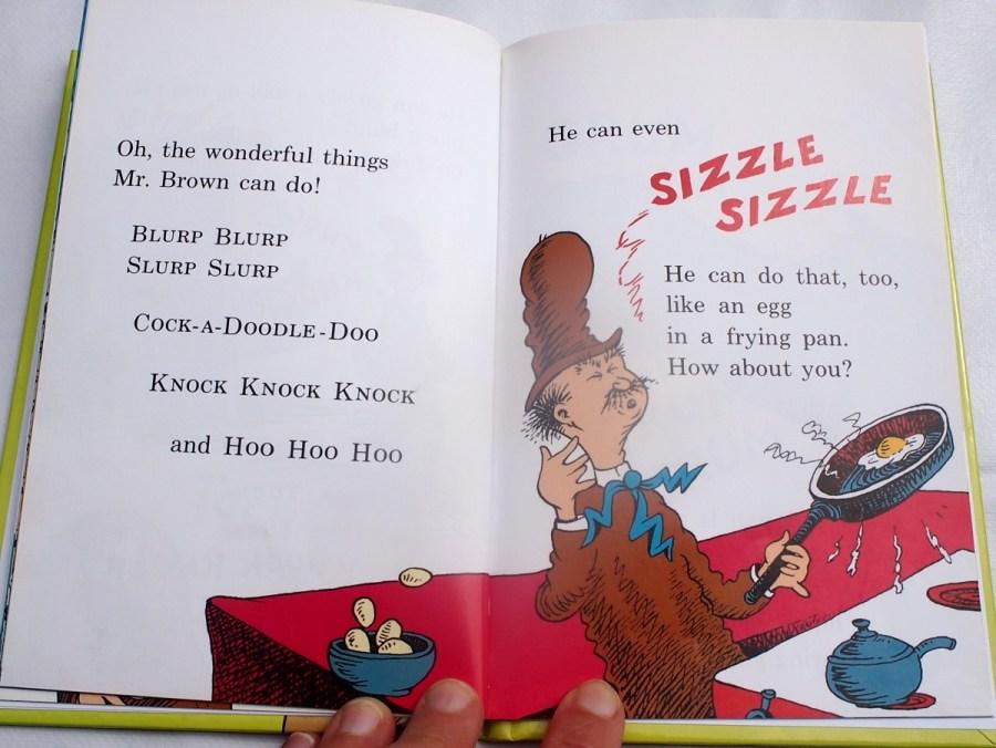 Pagina del libro Mr brown can moo, donde se esta haciendo el ruido de un huevo friendose.