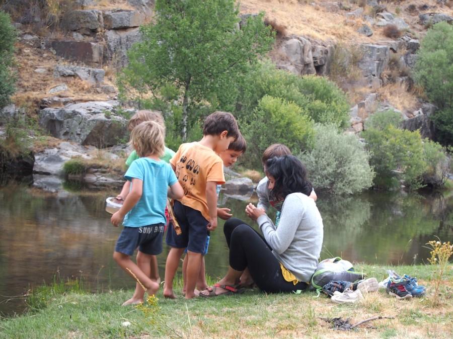 Niños observando bichos en el rio