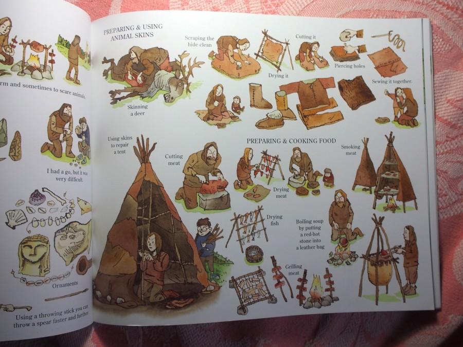 Página del libro Stona Age boy en el que se muestra el tipo y uso de herramientas